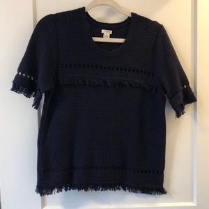 J. CREW Navy Short Sleeved Summer Sweater